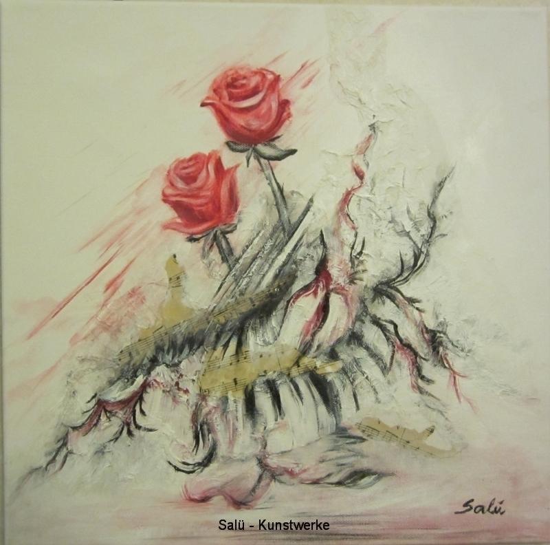 Zwei Rosen mit Ast und Noten