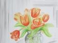 Tulpenstrauß in Glasvase