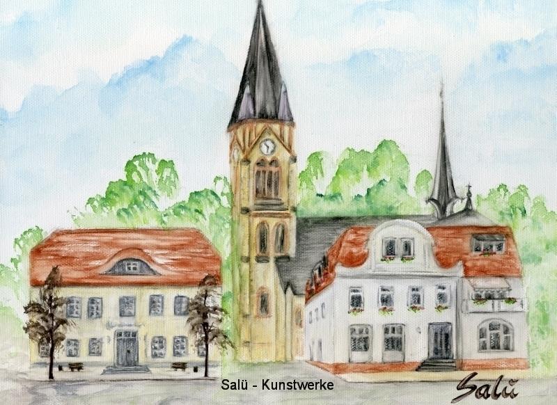 Rathaus/Kirche Warin (Gouache)