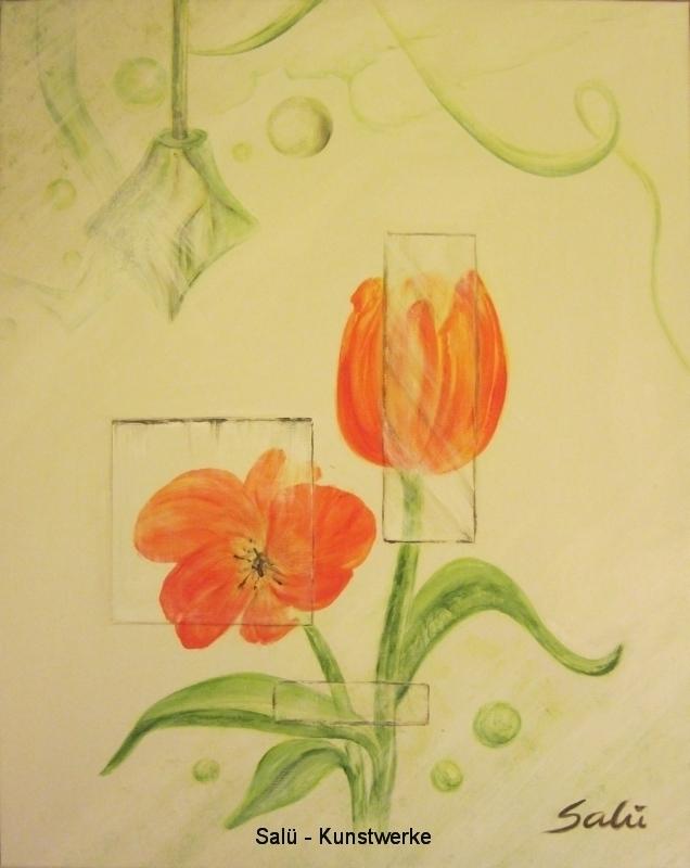 Tulpen hinter Glasscherben
