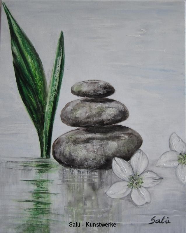 Weiße Blüten, Blatt & 3 Steine