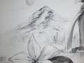 Weiße Blüte mit Berg und Wasserfall