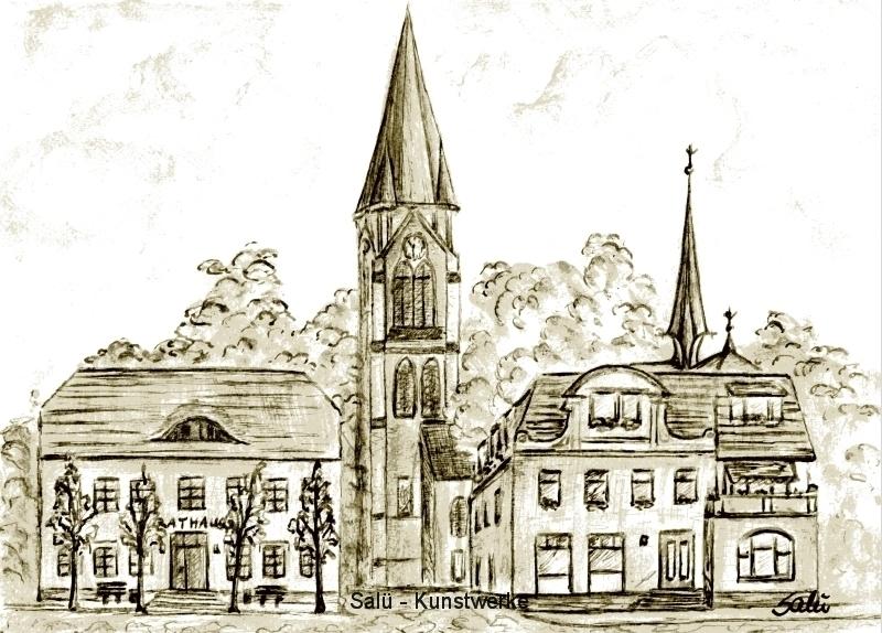 Rathaus/Kirche Warin (auf Papier)