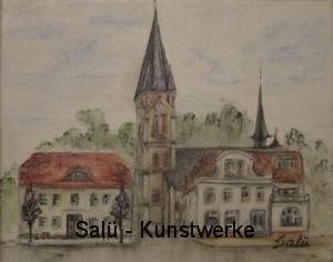 Rathaus/Kirche Warin (Aquarelle-Stifte)
