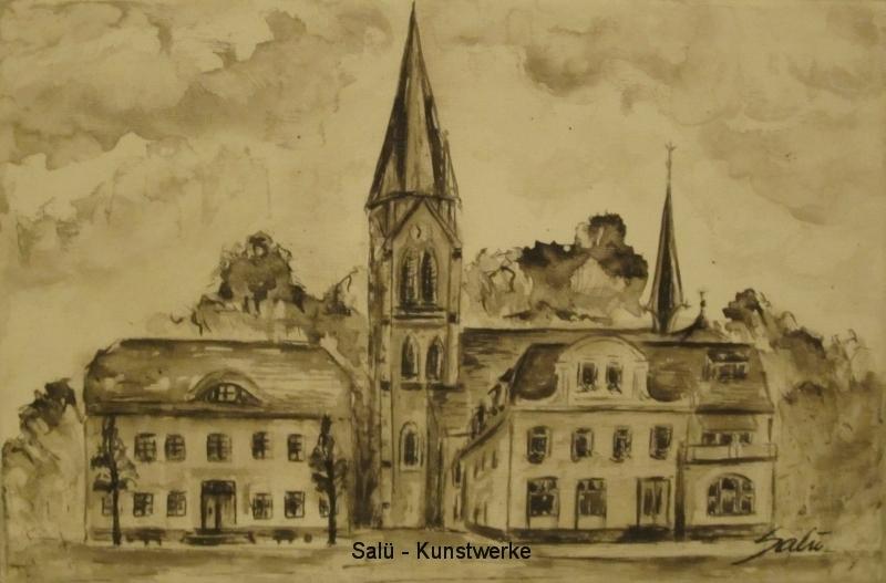 Rathaus/Kirche Warin (Sepia)