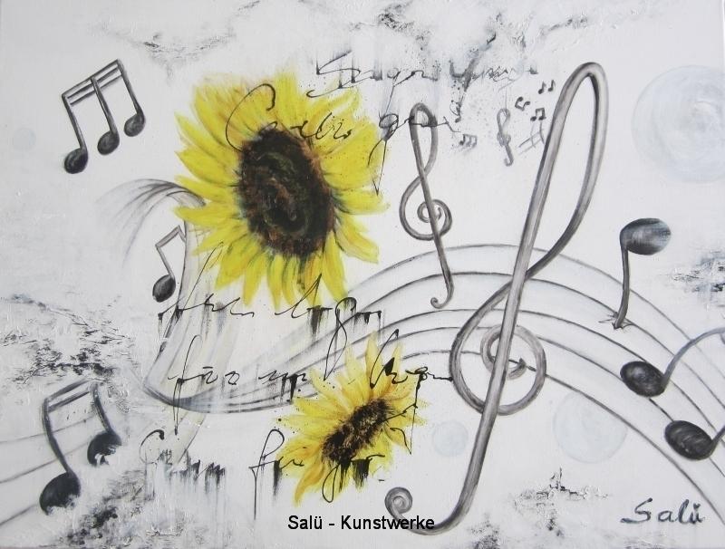 Sonnenblumen mit Notenschlüssel